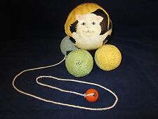 BRIERE Folk Art Pull Toy 1993 3 Cats on Ball & 4 Yarn Cart / Cradle #174