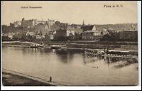 Pirna Sachsen alte Ansichtskarte ~1920/30 Schloß Sonnenstein Elbe vom Fluss aus