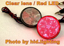 2x Round Reflector RED LED Rear Tail Brake Stop Light Third Toyota Clear Lens