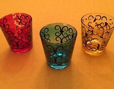 3 Barware Glasses Fred Press Signed Rose Blue Yellow W/ Black Scroll Design