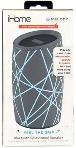 NEW iHome iBT77 Splashproof Fabric Bluetooth Speaker Voice Controls GRAY/BLUE