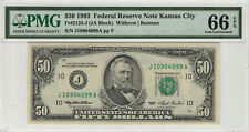 1993 $50 FEDERAL RESERVE NOTE KANSAS CITY FR.2125-J PMG GEM UNC 66 EPQ (099)