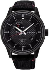SEIKO SSA383K1 Automatic Black Red Detail Strap Watch WR100M 2 Yr Guar RRP £270