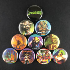 "Goosebumps 1"" Button Pin set R.L. Stein Fiction Author Kids Horror Scary"