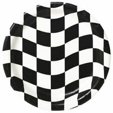 Creative Converting 159082 Black and White Check Dinner Plates