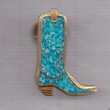 Turquoise Chip Inlay Hat Pin Bronze Cowboy Boot TAC PIN LAPEL PIN HAT TAC