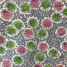 Vintage 30s 40s Cotton Fabric Deco Print Sewing Pink Lime Rockabilly