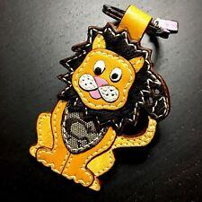 NEW Coach Signature Leather Haircalf Lion Keybob keychain
