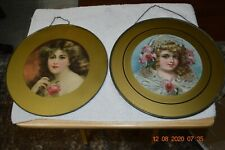 """2 Antique Chimney Flu Covers - Victorian Girl (11 1/2"""") & Woman (10 3/4"""") Nice !"""