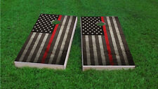 Firefighter Thin Red Line American Flag 2x4 Custom Cornhole Board Set w/Bags