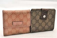 Authentic GUCCI Wallet GG PVC Leather Brown Pink 2Set 94265