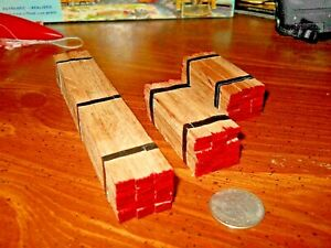 HO Scale Flat Car Lumber Load  Real Red Oak Wood Handmade