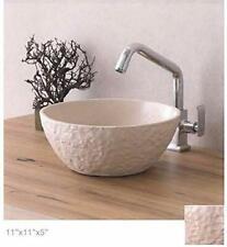 Bathroom vessel sink above counter ceramic porcelain wash basin Textured Cream