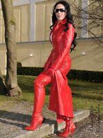 Ledermantel Leder Mantel Rot Bodenlang Figurbetont Maßanfertigung