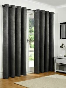 Luxury Charcoal Embossed Thermal Blackout Eyelet Ring Top Lined Pair Curtains
