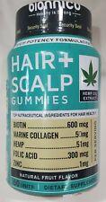 New Bionnico Hëmp Hair Scalp Gummies 60 Count Biotin Collagen Folic Zinc