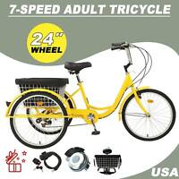 """A+ 24""""Adult Tricycle 3-Wheel Trike Cruiser Bicycle w/ Basket for Shopping/Outing"""