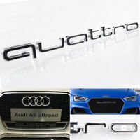 BLACK QUATTRO EMBLEM GRILL BADGE LOGO For AUDI RS3 RS4 RS7 A1 A3 A4 A5 S3 S4 Q7