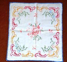 Sehr schöne kleine Decke 50x50cm bunte Kreuzstichmuster handgewobenes Leinen TOP
