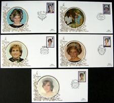 GREAT BRITAIN BENHAM PRINCESS DIANA FIRST DAY COVERS SET OF 5 ROYALTY STAMPS