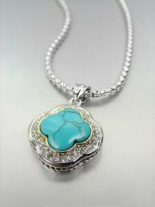 18kt White Gold Plated Turquoise CZ Crystals Clover Pendant Box Chain Necklace