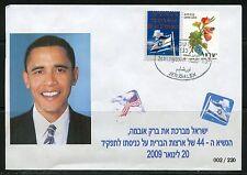 ISRAEL 2010  MAZAL TOV ON THE INAUGURATION OF PRESIDENT OBAMA HEBREW FDC