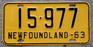 1963 Black on White Newfoundland Canada License Plate