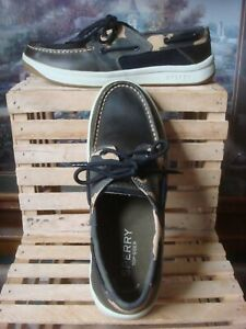 NWOB SPERRY TOP-SIDER BROWN LEATHER, CAMO & BLACK MESH LOAFER BOAT SHOES ~SZ 10M