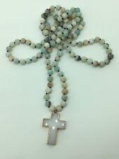 Fashion long knot Matt Amazonite stone cross pendant woman necklace holiday gift