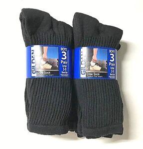 "Boy""s GILDAN Black Sport Crew Sock, Shoe Size L 3-9.NEW,"