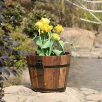 Whiskey Barrel Planter Pots Wooden Large Garden Patio Flower Plant Decor P9K2