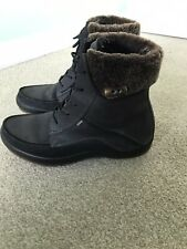 ECCO GORETEX BOOTS mens Size 8 42 Suede Leather Fur Lined Black Winter Boots