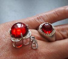 925er Silber - Ring (19) + Anhänger für Halskette - Roter Bernstein - Juwelo