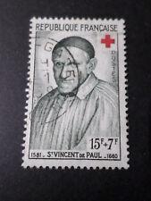 FRANCE 1958 timbre 1187, CROIX ROUGE ST VINVENT DE PAUL oblitéré, RED CROSS