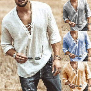 Mens Long Sleeve Cotton Linen Blouse Loose Henley V-Neck Tops T Shirts Blouse UK