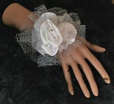 New Bespoke Ivory Cream Satin Rose Wrist Corsage Bride Bridesmaid Wedding Proms