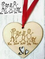 Personalised Wooden Heart Kids Drawing Engraved Gift Family Mum Dad Grandma