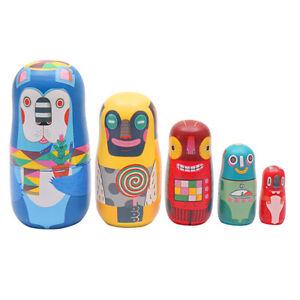5 Layers Wooden Russian Matryoshka Toys Nesting Babushka Dolls Ornaments