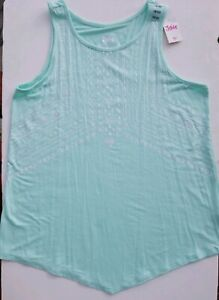 NWT Justice Girls Sea Green Glitter Geometric Native American Tank Top 18/20