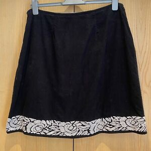 East Black Corduroy Skirt Size 16 Pincord Knee Length Embroidered Cotton A-Line