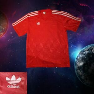 RED BRILLANT ADIDAS VINTAGE  FOOTBALL SHIRT 90s POLYESTER SIZE LARGE