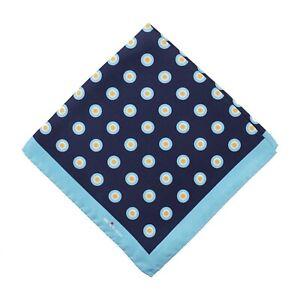 Kiton Napoli Navy-Yellow-Sky Blue Circle Print Silk Pocket Square