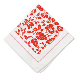 NWT RODA Red and White Tropical Floral Print Cotton Pocket Square