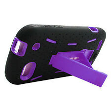 For ZTE Warp Sequent Impact Hard Rubber Case Phone Cover Kick Stand Black Purple