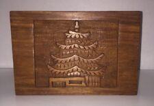 Tea Trinket Box Carved Pagoda Wood With A Hinged Lid