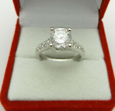 Engagement 14k White Gold Round Clear Stone 1.75ct Ring with Diamond Accent 6gr