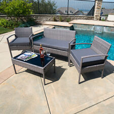 Patio Wicker Furniture Outdoor 4Pcs Rattan Sofa Garden Conversation Set, Gray
