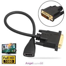 1080P DVI-D Male to HDMI Female Splitter Adapter Digital Cable For PC HDTV LCD