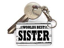 Worlds Best Sister Cute Novelty Keyrings Fun Cheap Birthday Gift Key Present