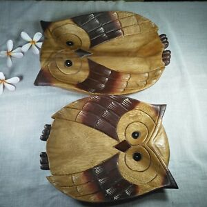 2 Wooden Plates Owl Shaped Wood Carved Dinnerware Serving Dish Trays So Cute